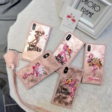 Nueva moda bordada Flamingo Tigre travieso leopardo Rosa funda para iphone X XS XR XSMAX 6 6 PLUS 7 7 8 8 PLUS caso(China)