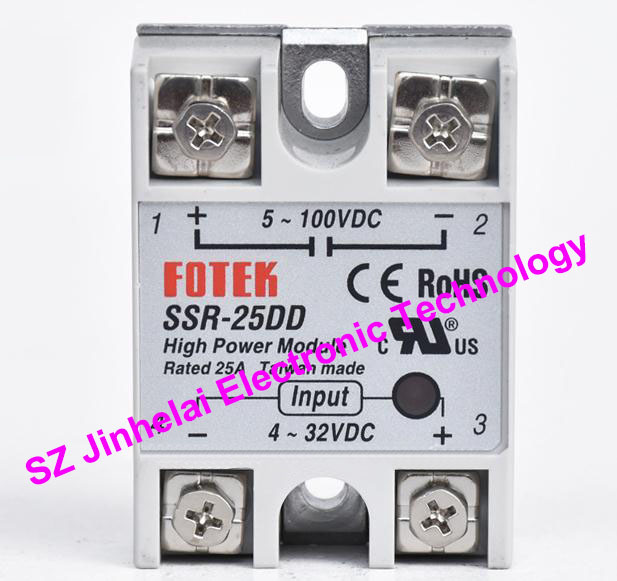 New and original FOTEK Single-phase DC solid state relay  SSR-25DD    25A ssr 40da single phase solid state relay white silver