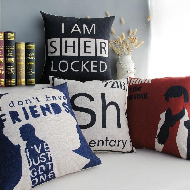 Sherlock Holmes England Cotton Cushion  Linen Pillow  Pillow Cushion 45cm*45cm Home Decor Sofa Cushions 4PCS/LOT