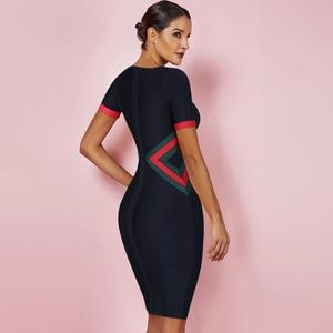 Image 2 - Ocstrade נשים Vestidos תחבושת שמלת 2020 חדש קיץ צבע בלוק מועדון מסיבת Bodycon שמלה אלגנטית באיכות גבוהה HL תחבושת שמלה
