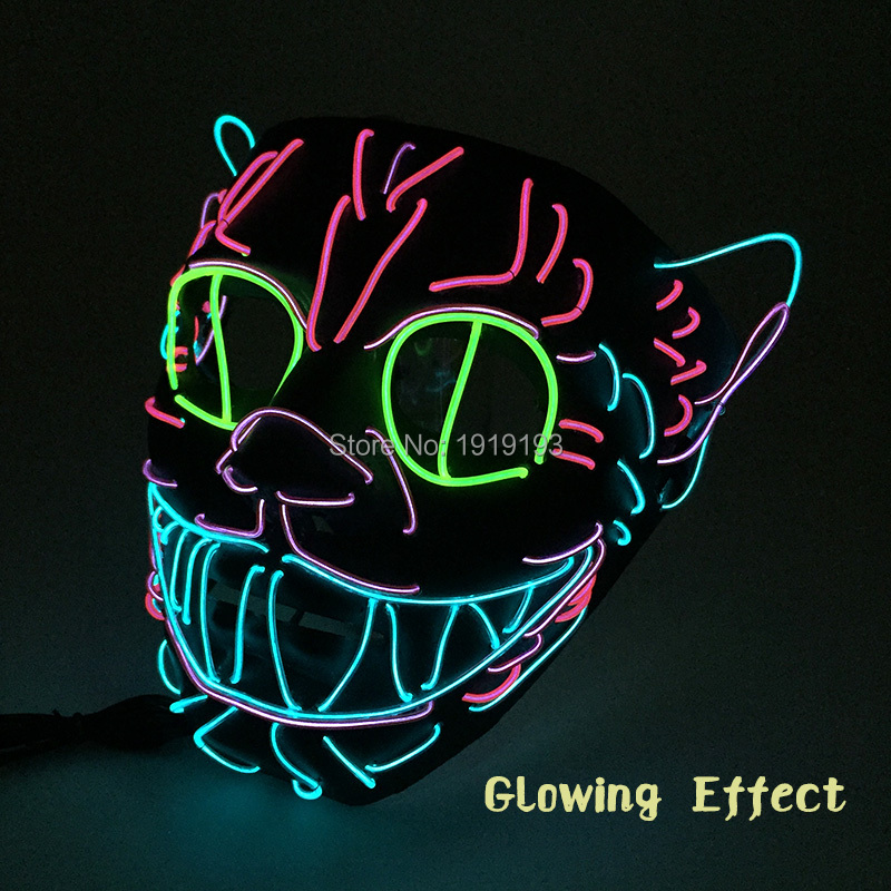 Stage Style Drama Performance Decor Neon Led Strip Masquerade Animal Cat Mask Cold Light Rave Night Club Mask with Inverter