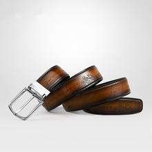 Designer Brand Men Belt Italian Genuine Leather Handmade Letter Vintage European and American Style Strap for Gentlemen