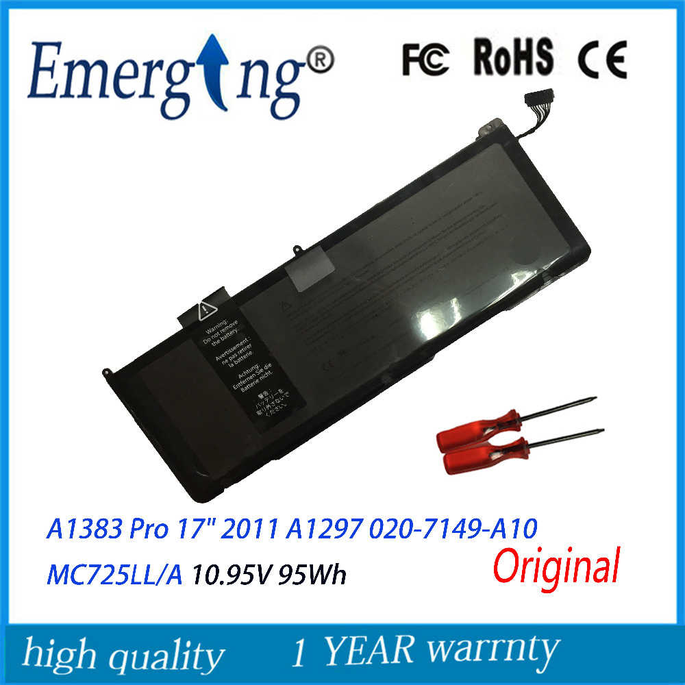 10.95V 95Wh Original New A1383 Genuine Laptop Battery For Apple MacBook Pro 17 2011 A1297 020-7149-A10 MC725LL/A With Tools