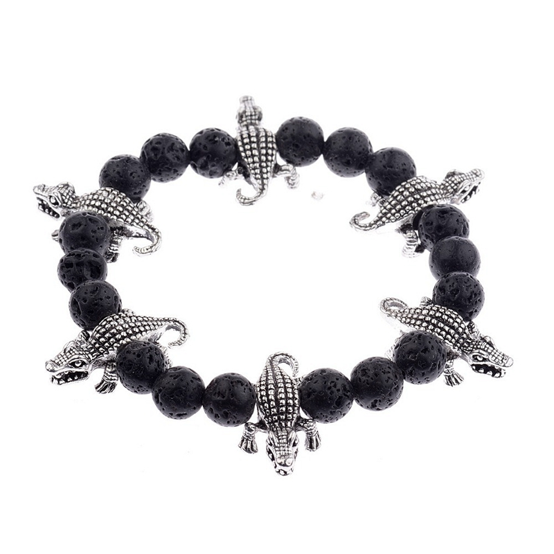 1 Piece Lava Stone Natural Stone Beaded Bracelet Silver Crocodile Charms Bracelet Men/Women Trendy Yoga Bracelet AB122