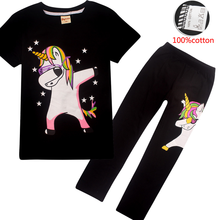 2019 Harajuku Dabbing Unicorn Funny Children T-Shirts + Leggings Summer Tops Girls Clothing Set Baby Kids Children Clothes Sets(China)