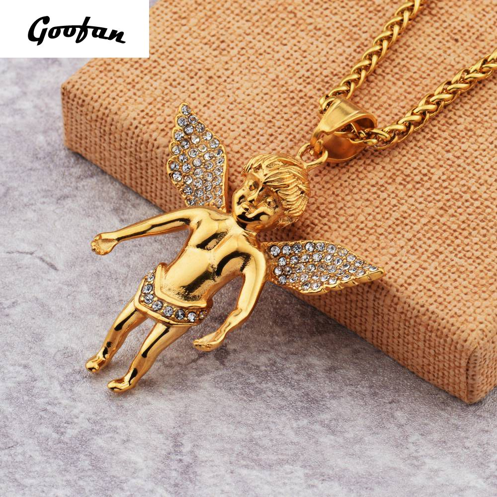 2017 New Hip hop Goofan Shining Angel Pendant Necklace Stainless Steel Fashion Jewelry For Men Women