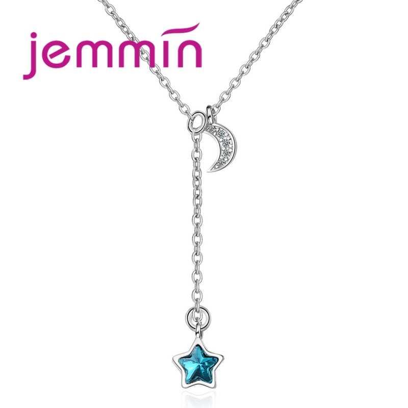 Mujer clásica Luna estrella colgante collar 925 Plata de Ley largo joyería accesorio para gran madre cumpleaños fiesta regalos