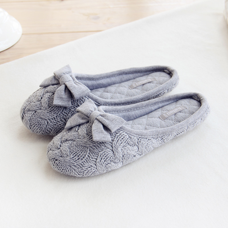 Knitted Bowtie Winter Women Home Slippers For Indoor Bedroom House Soft Bottom Cotton Warm Shoes Adult Guests Flats cute bowtie warm winter women home slippers for indoor bedroom house soft bottom shoes adult gusets flats christmas gift