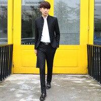 2016 현대 중국어 튜닉 정장 남성 블랙 슬림 맞춤 정장 자켓 바지 웨딩 좋은 품질 좋은 옷 무료 배송
