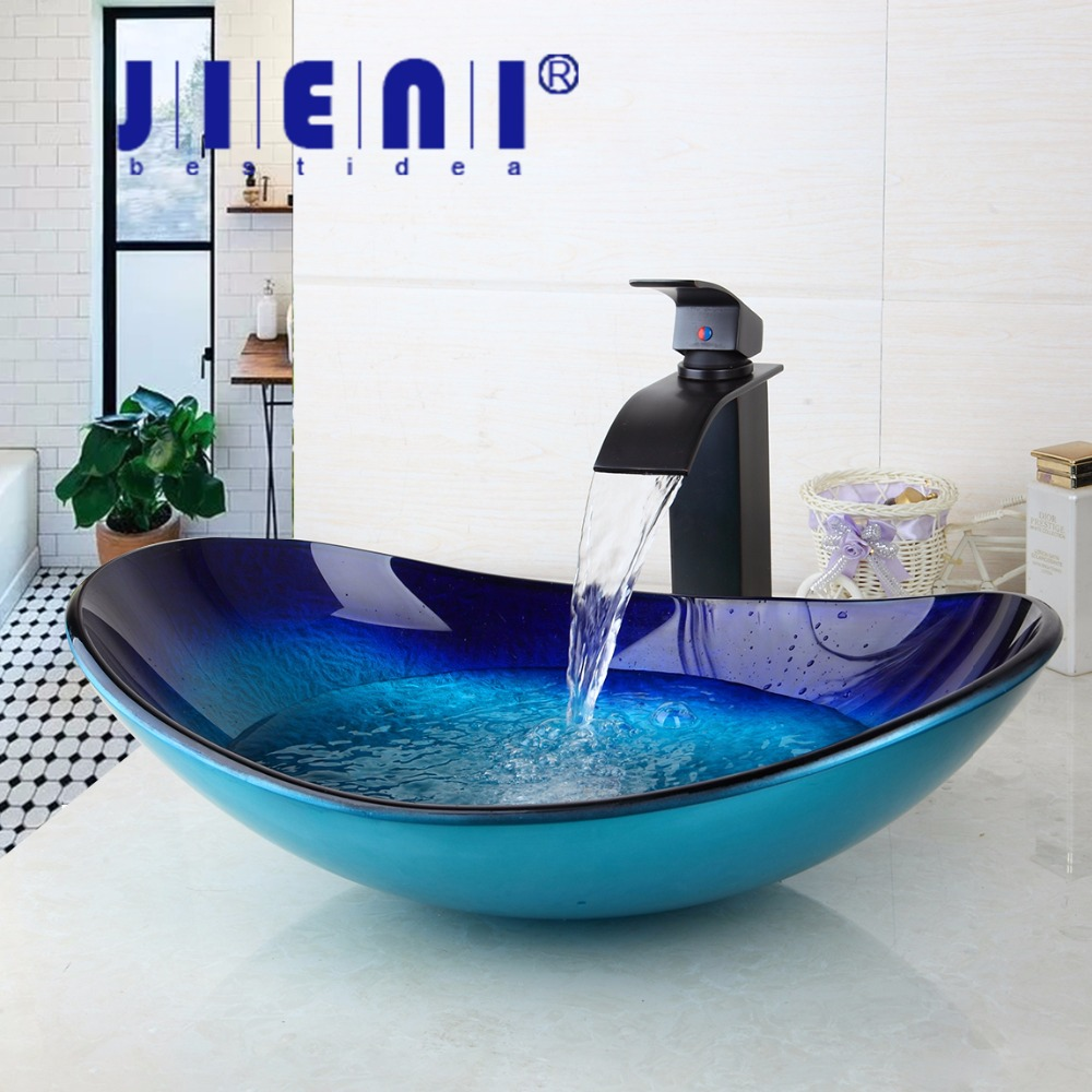 Waterfall Spout Basin Black Tap+Bathroom Sink Washbasin Tempered Glass Hand-Painted 42638255-1 Bath Brass Set Faucet,Mixer Taps kemaidi us waterfall spout basin tap bathroom sink washbasin tempered glass hand painted 4094 1bath brass set faucet mixer taps