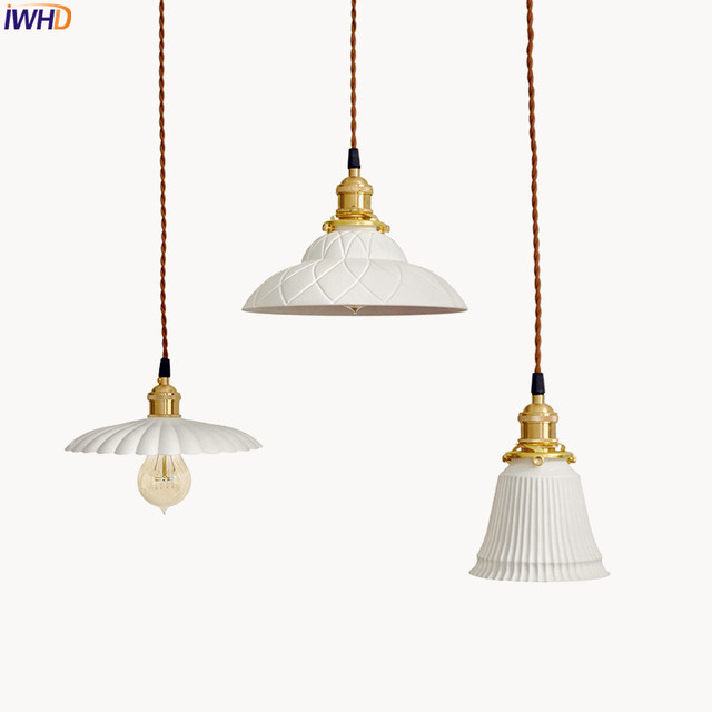 Iwhd White Ceramic Br Pendant Lights Fixtures Restaurant Bedroom Bedside Nordic Anese Style Hanging Lamp Led Hanglampen