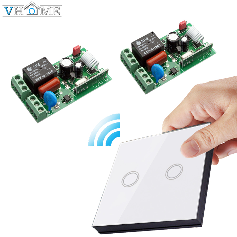 Vhome RF433MHZ Wireless touch switch remote control panel&AC170-240V 5A Wireless receiver  For Bedroom Ceiling Lights Wall Lamps black color 2gang touch light switch with wireless remote control rf 433mhz glass panel smart wall touch switch uk type