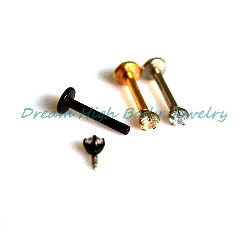 New Arrival Zircon Vacuum Plating Titanium Lip Stud Labret Ring Earring Fancy Body Piercing Jewelry 50pcs/lot