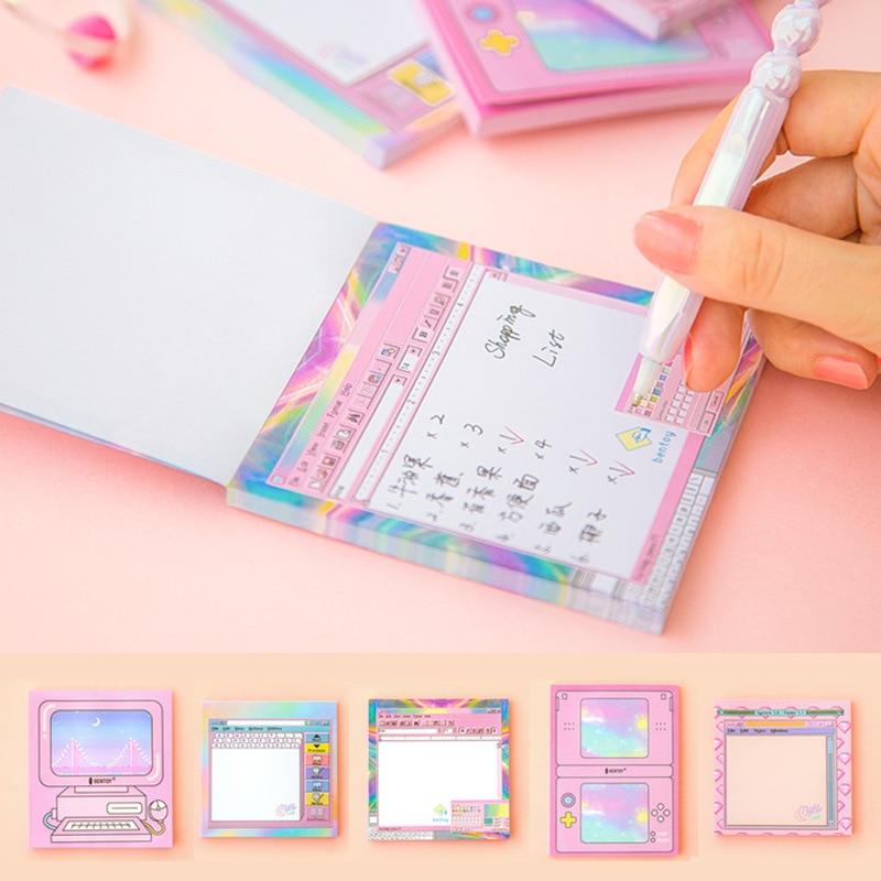 Kawaii Aesthetic Retro Computer Self-adhesive Sticky Notes/Memo Pad 1