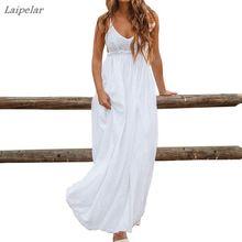 Boho deep v neck backless long women white dress Chiffon  lace up summer dress Sleeveless beach maxi dress vestidos Laipelar цена и фото