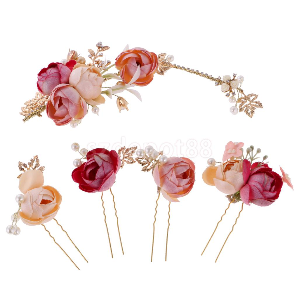Elegant Bridal Wedding Flower Pearls Headpiece Hair Pins Party Prom Dress Up