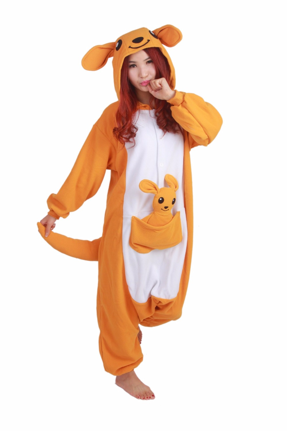 Adult Animal kangaroo Cosplay Onesie Women Men Unisex Winter Halloween Party Costumes with a Doll  Female Male Cute Pajamas