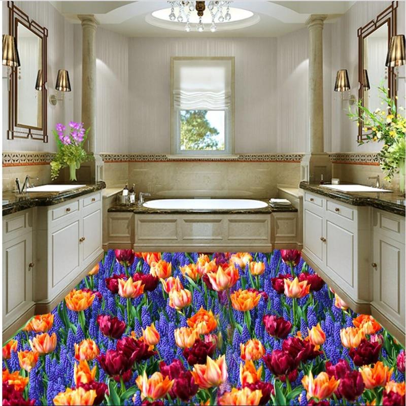 Custom Beautiful Flowers Lavender Living Room 3d Floor