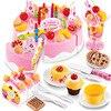 Mylb 75Pcs Kitchen Toys Pretend Play Cutting Birthday Cake Food Toy Tableware Plastic Play Food Tea
