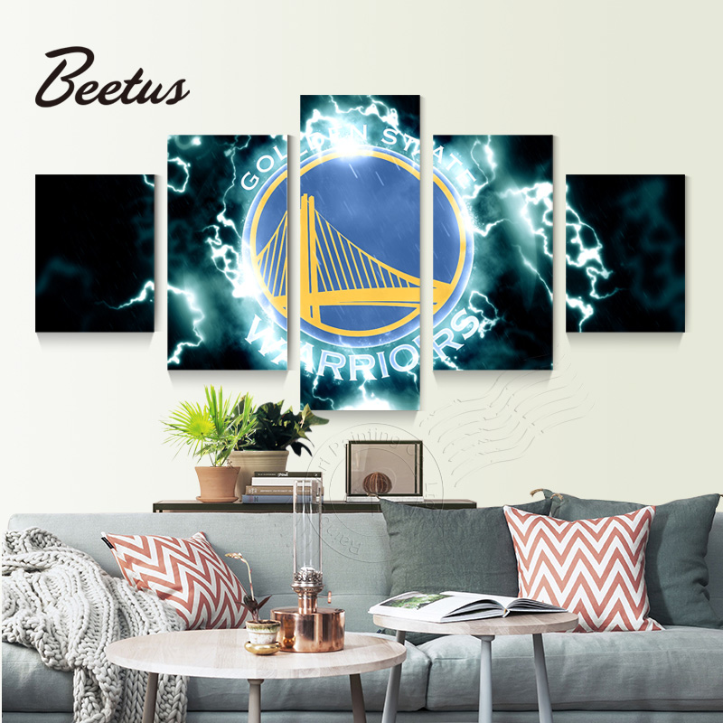 5 Panel Wall Art Sport Game Logo Golden State Warriors Basketball Home Decoration Art Modular Pictures For Living Room Unframed
