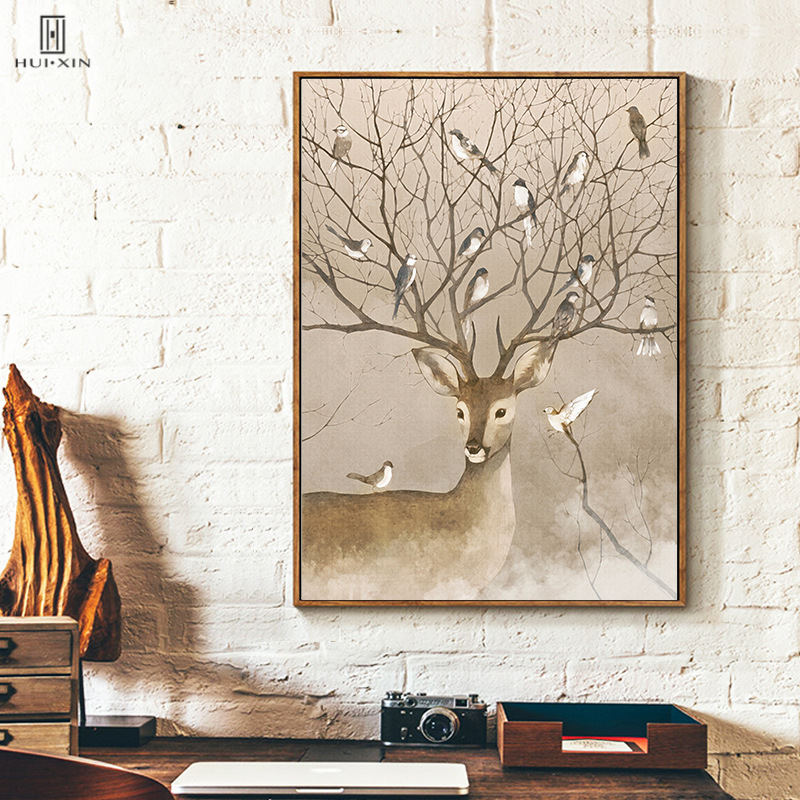 Modern True-Life Natural Animal Deer Antler As Tree Braches Attract Birds HD Unframed HD Decorative Paintings For Home Decor image