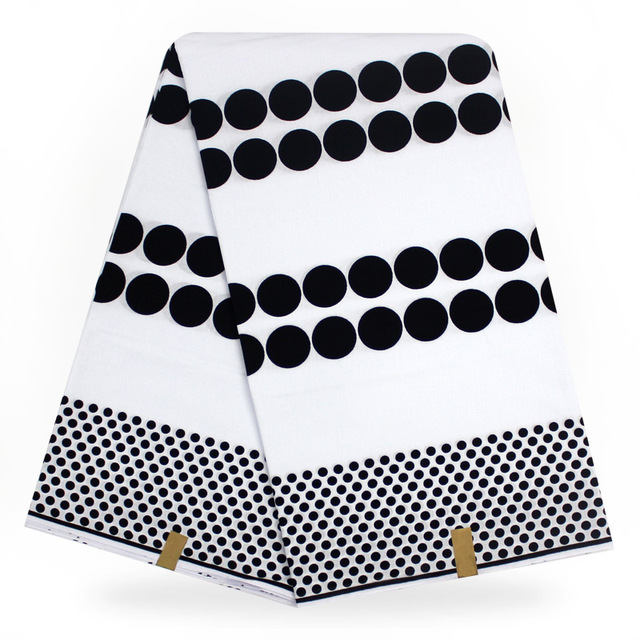 African Hollandais Print Wax Black White Color Java 100 Cotton Veritable Real