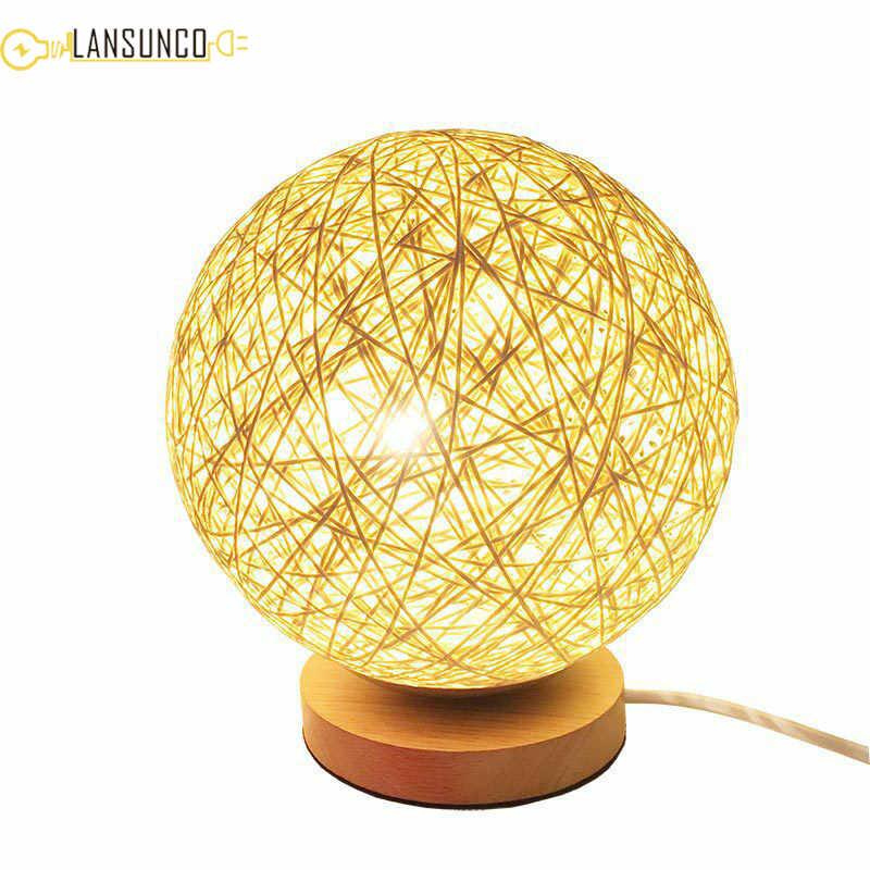 Meja Kayu Lampu Anyaman Rotan Bola Lampu Meja Colorful USB Tafellamp untuk Hadiah Kamar Tidur Samping Tempat Tidur LED Lamplampara De Mesa