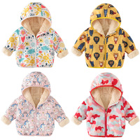 Baby Girl Coats Unicorn Cartoon Graffiti Toddler Baby Boy Jacket Fleece Windbreaker Hooded Kids Jackets for Girls Boys Coats