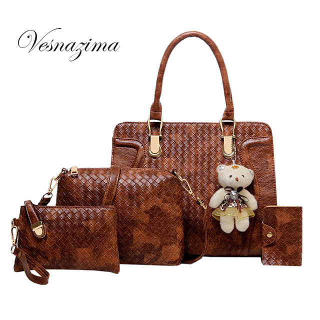 Vz Pu Leather Woven Las Handbags Knitting Collection For S Classic Office Handbag Women Tote
