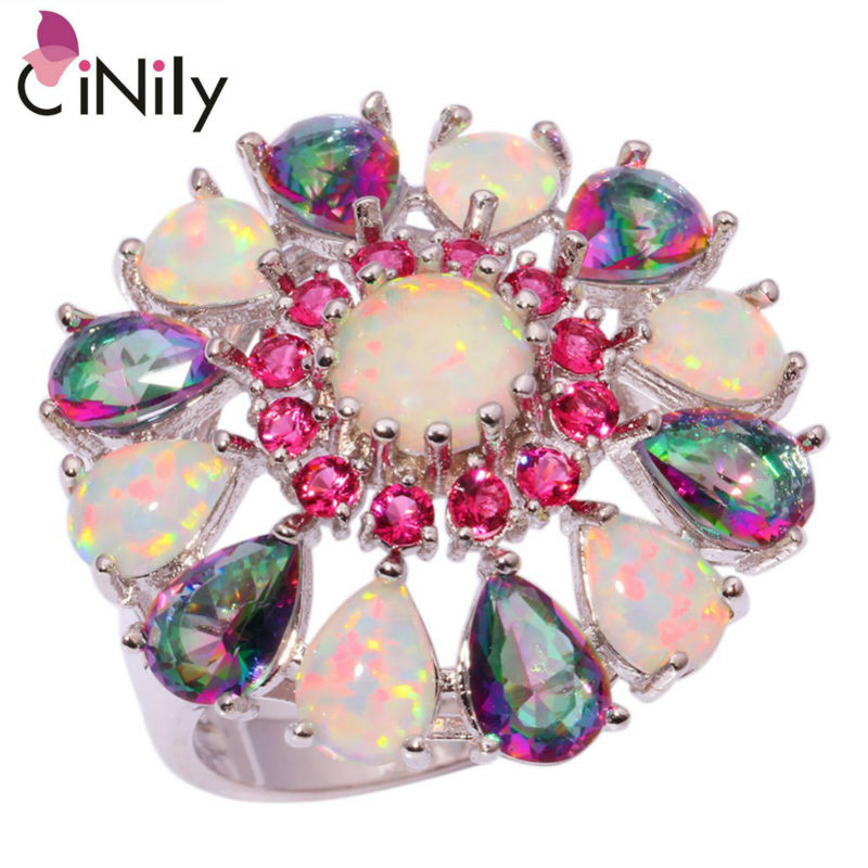 CiNily Created White Fire Opal Mystic Zircon Kunzite Silver Plated Ring Wholesale for Women Jewelry Ring Size 6 7 8 9 10 OJ7912