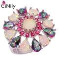 CiNily Lavish White Fire Opal Rings Silver Plated Rainbow Mystic Zircon Stone Kunzite Rose Red Garnet Party Flower Jewelry Women
