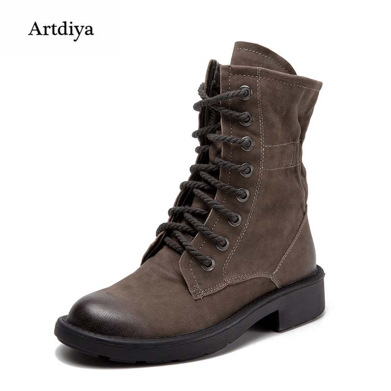 Artdiya Genuine Leather Boots 2017 Autumn and Winter New Sheepskin Women Boots Handmade Front-tie Martin Boots T1305-H16A autumn and winter new ladies genuine