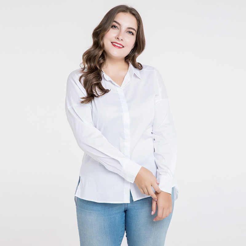 bef489f20412 TUHAO 2018 Весна Повседневная Офисная Женская белая блузка Топ рубашки  большой размер ...