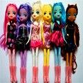 6 unids/set 25 cm poni acción pvc figuras de juguete Princesa Celestia Unicornio muñeco de peluche de regalo de Navidad del bebé