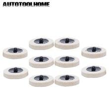 "10pcs 2"" Compressed Wool Felt Fabric QC Disc 50mm Polishing Buffing Pads Wheels for Roloc Grinding Abrasive Tools Accessories"