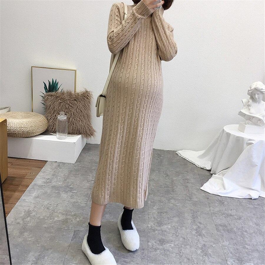 Maternité femmes chandail automne hiver à manches longues x-long tricot chandail nouvelles mamans mode retour fente sous-vêtements détente chandail robes