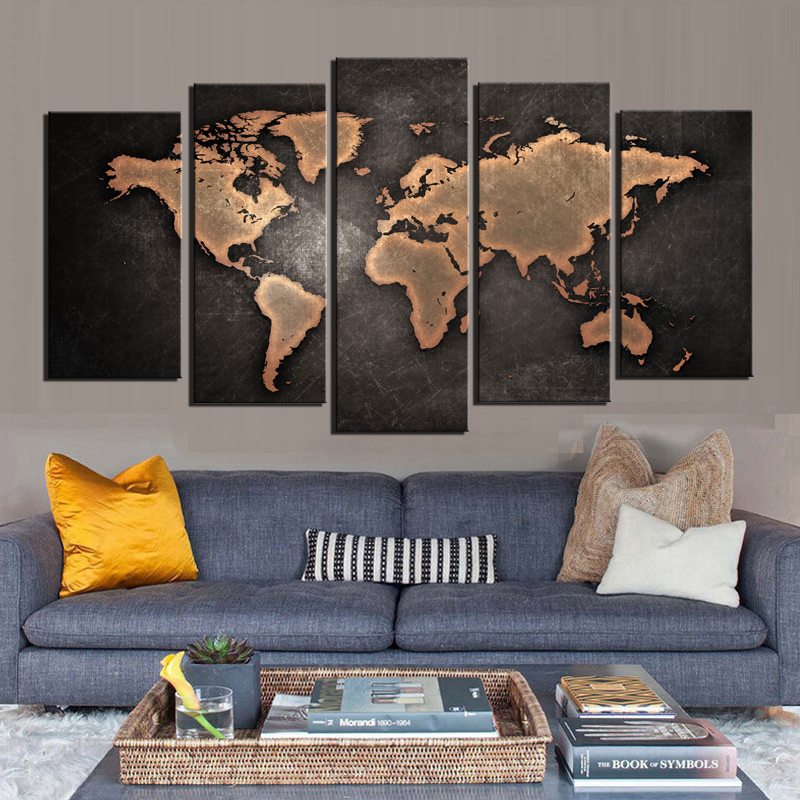 Canvas wall art world map wall decor 5 piece large map canvas art canvas wall art world map wall decor 5 piece large map canvas art vintage grunge rustic abstract painting background pictures in painting calligraphy gumiabroncs Images