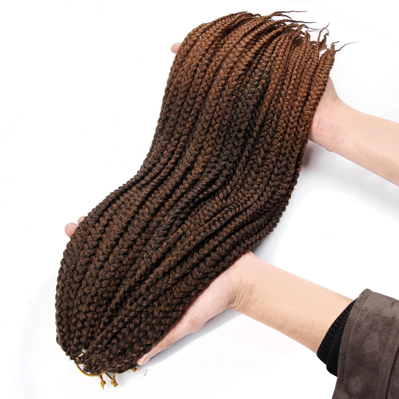YXCHERISHAIR 22 Inch Long Synthetic Ombre Crochet Box Braid Black Blonde Brown Box Braiding Hair Extensions
