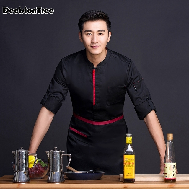 2019 summer black white wholesale men bakery kitchen cook chef jackets long sleeve breathable cotton breasted chef uniform