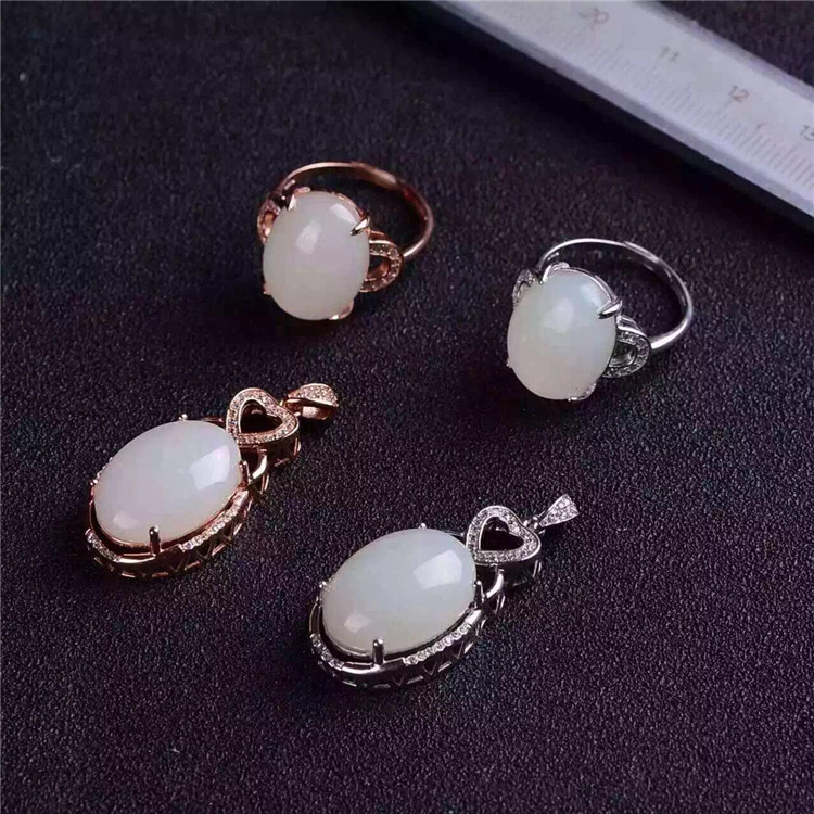 Natural and Tian Baiyu S925, sterling pure silver Plated Platinum rose gold jewelry ring pendant set natural treasure