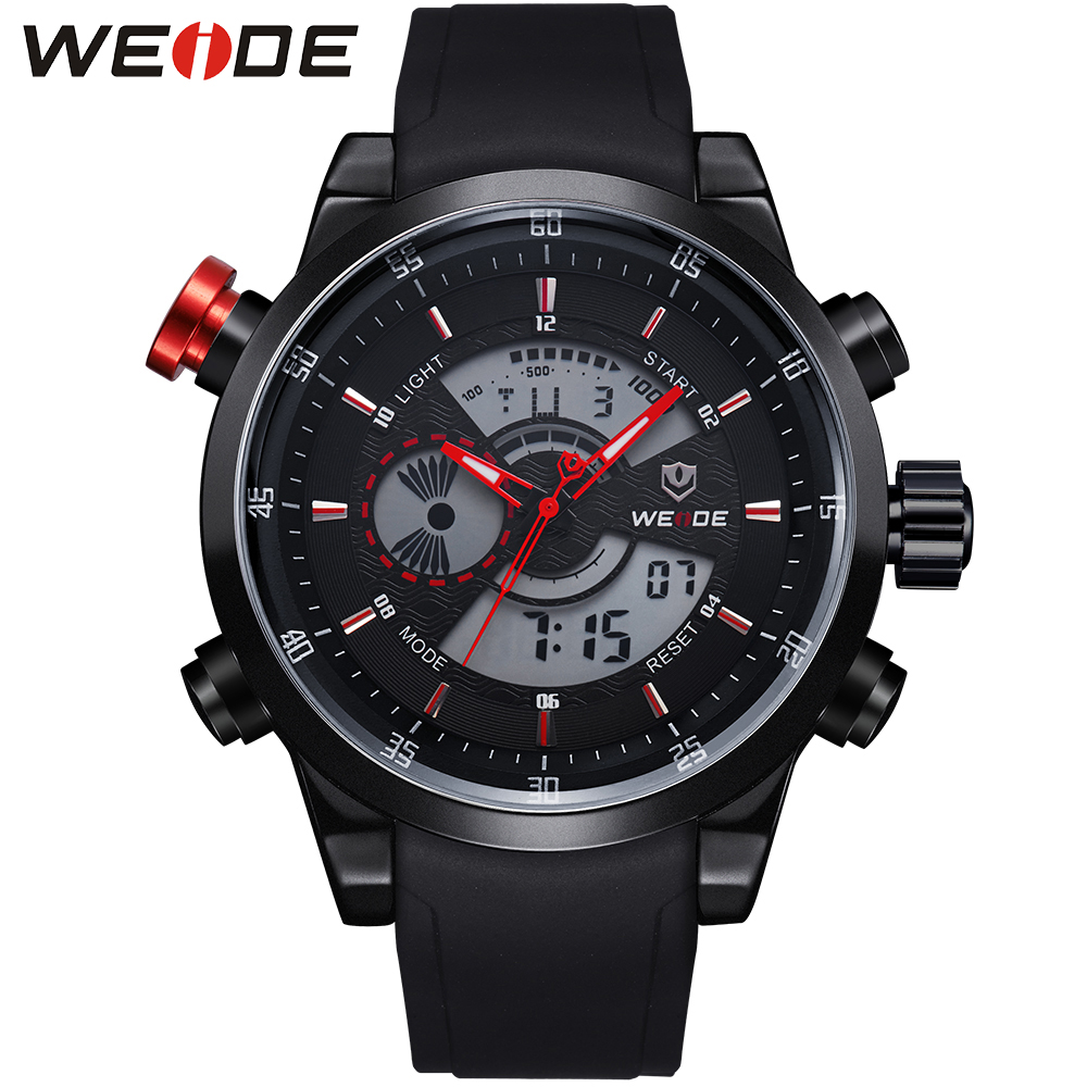WEIDE Sports Date Analog Digital Watch Men Quartz LCD Movement Hardlex Surface Black PU Wrist Strap New With Tags Items For Male weide men watches clock analog quartz movement calendar date black leather strap band buckle hardlex wristwatches for sport