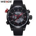 WEIDE Waterproof Analog Digital Watch Men Quartz LCD Movements Hardlex Surface Black PU Wrist Strap New With Tags Items For Male