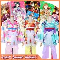Коллекция! Lovelive солнце! Aqours все цифры Лето ФЭСТ платье кимоно Косплэй костюм полный комплект платье + корона + Интимные аксессуары
