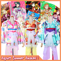 Collection!! Lovelive sunshine!! Aqours All Figures Summer Fest Kimono Dress Cosplay costume Full set Dress+Crown+Accessories