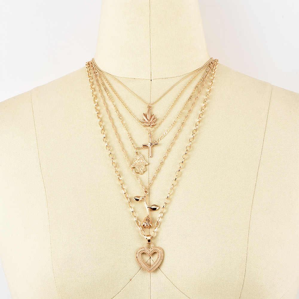 פאנק מייפל ליף פאלם צלב עלה לב תליון רב שכבתי זהב ארוך שרשרת אישיות גברת קיץ ללבוש תכשיטי נשים שרשרת