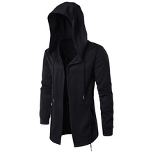Casual black Hooded men's Windbreaker cloak Dark Department Long section trench coat