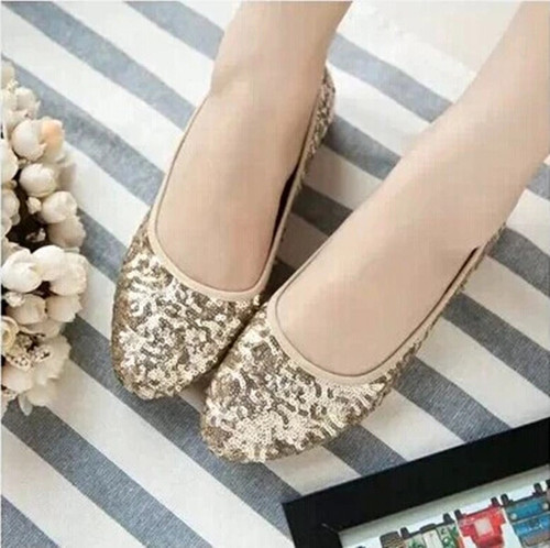 Cheap wholesale 2016 spring and autumn new fashion Women shoes sequined shoes Women golden shoes Women flats large size 40