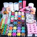2016 new new Acrylic Powder Glitter sanding File buffer Brush Finger Dispenser Rhinestones Tweezer cutter UV acrylic Art Set Kit