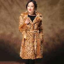 Free Shipping women Natural real Rabbit Fur Coat Long Jacket Leopard Color winter warm outwear Wholesale female genuine fur coat