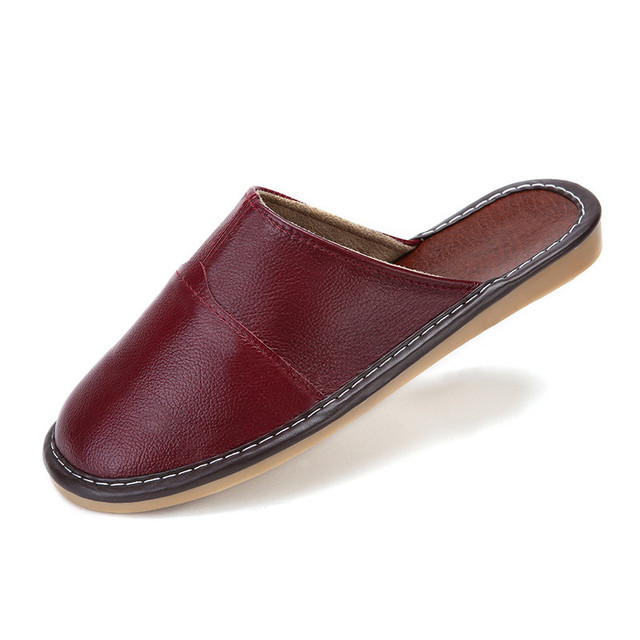 High Quality Men Women Shoes Full Grain Leather Slippers Summer Home Lover Genuine Leather Indoor Slippers Antiskid Floor Shoes